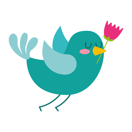 cartoon cute bird with tulip flower in beak vector illustration