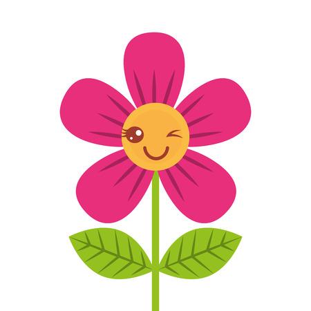 beautiful flower wink cartoon vector illustration