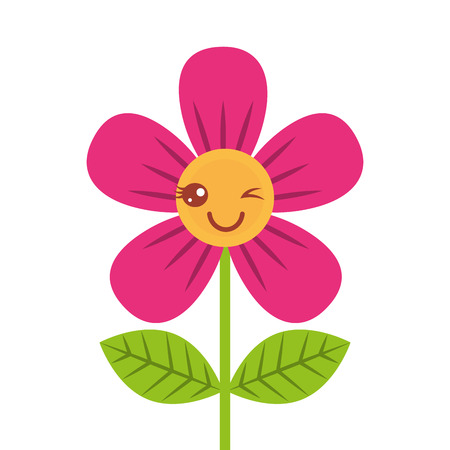 beautiful flower wink cartoon vector illustration
