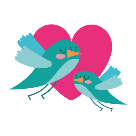 cute flying birds heart in love romance vector illustration Illustration