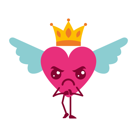 cartoon heart in love angry wings and crown vector illustration Illustration