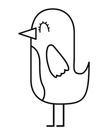 cartoon cute bird adorable animal vector illustration thin line design Stok Fotoğraf - 96803420