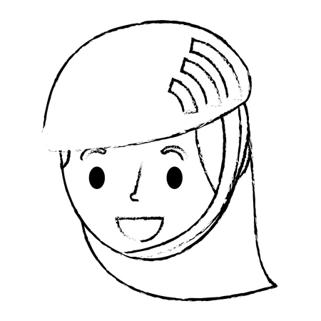 cute young girl child with sport helmet vector illustration sketch