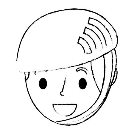 スポーツヘルメットベクトルイラストスケッチを身に着けている小さな男の子