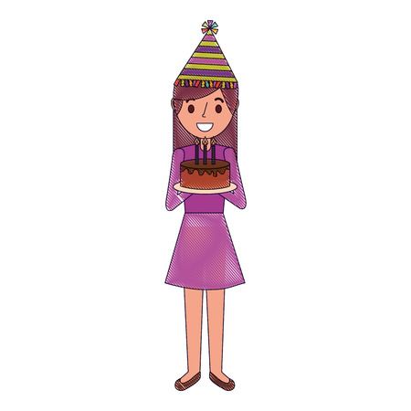 woman with party hat holding birthday cake vector illustration