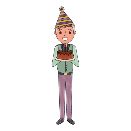 old man grandpa holding birthday cake with candles vector illustration Illustration