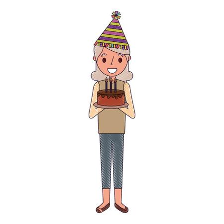 elderly grandma with party hat holding birthday cake vector illustration Foto de archivo - 96803436