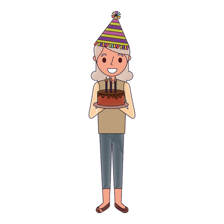 elderly grandma with party hat holding birthday cake vector illustration Illustration