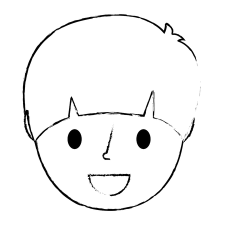 young face boy smiling cartoon character vector illustration sketch