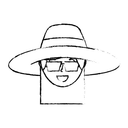 happy face woman wearing hat and sunglasses vector illustration sketch