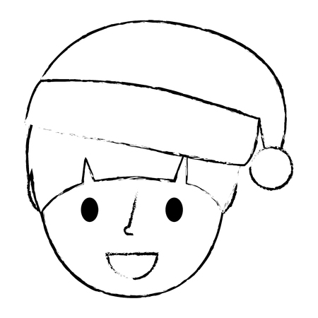 young boy smiling happy wearing christmas hat vector illustration sketch
