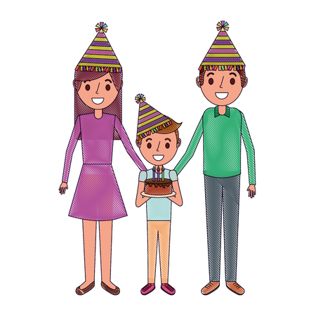 family parents and child holding birthday cake celebration vector illustration