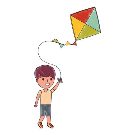child holding kite playing cheerful vector illustration vector illustration