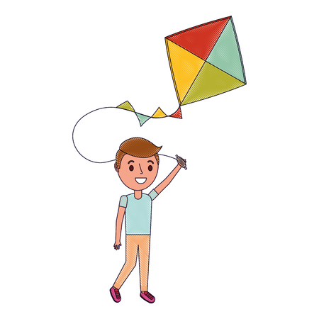 child holding kite playing cheerful vector illustration Reklamní fotografie - 96803478