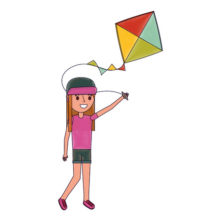 girl child holding kite playing cheerful vector illustration