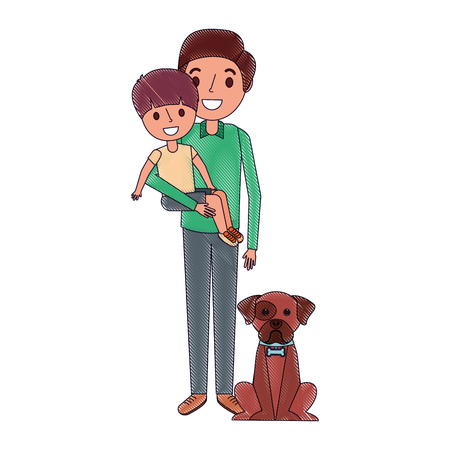 father holding their son with her dog vector illustration