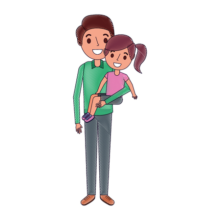 dad carrying their daugther child vector illustration
