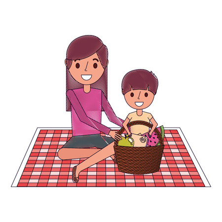 mom with her son sitting on blanket with food basket vector illustration Stock Illustratie