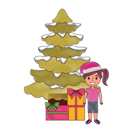 happy girl wearing christmas hat with tree and gifts vector illustration