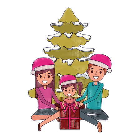 happy family the parents and daughter with christmas tree and gift vector illustration