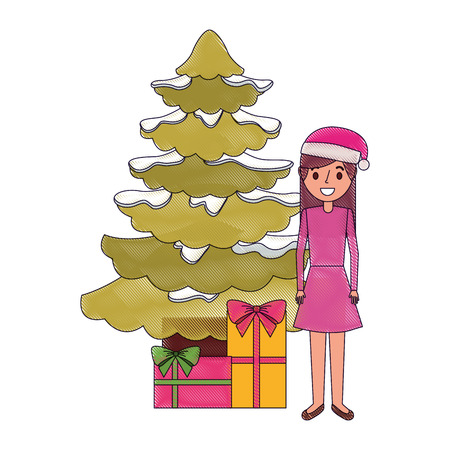 Female standing beside the Christmas tree and gift boxes vector illustration