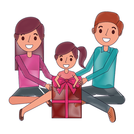 Family parents and daughter sitting with gift box vector illustration