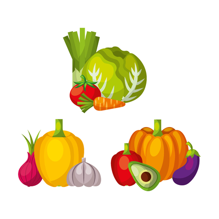Vegetables set different products natural organic vector illustration