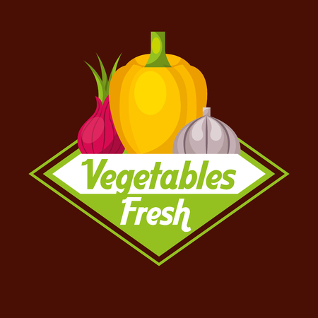 Vegetables fresh label yellow bell pepper beetroot garlic vector illustration Illusztráció