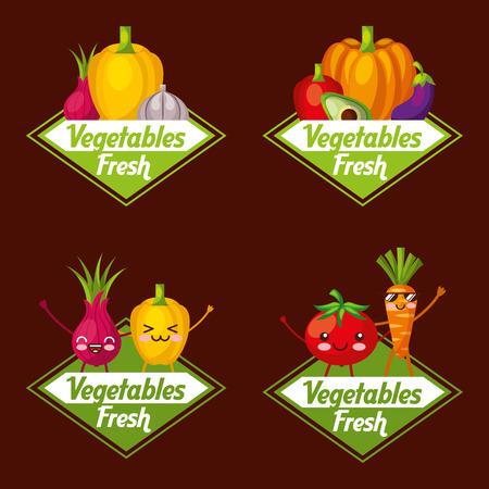 Vegetables fresh labels food nutrition and kawaii cartoon vector illustration Illustration