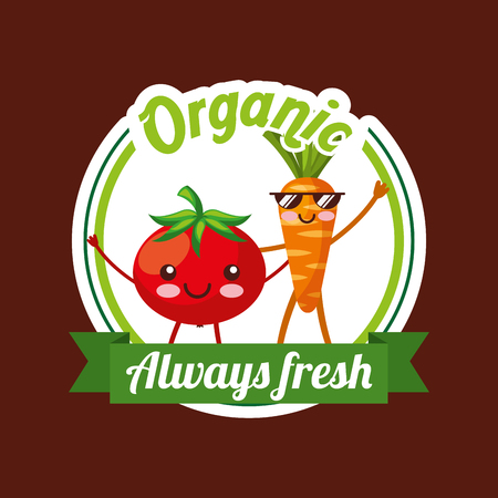 Vegetables tomato and carrot cartoon organic always fresh badge vector illustration Illustration