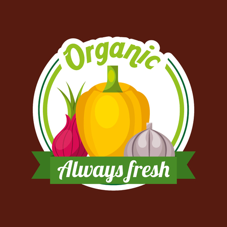 Vegetables yellow bell pepper beetroot garlic organic always fresh badge vector illustration Çizim