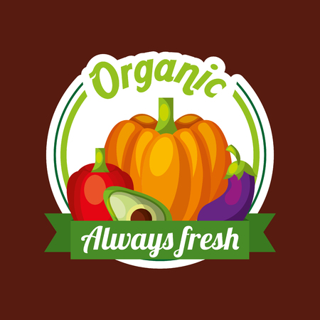 Vegetables pumpkin avocado eggplant red bell pepper organic always fresh badge vector illustration