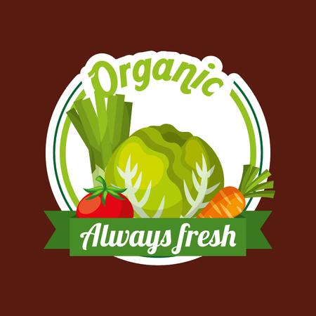 Vegetables lettuce tomato carrot organic always fresh badge vector illustration