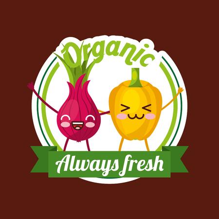 Bell pepper and beetroot kawaii vegetables organic always fresh badge vector illustration 일러스트