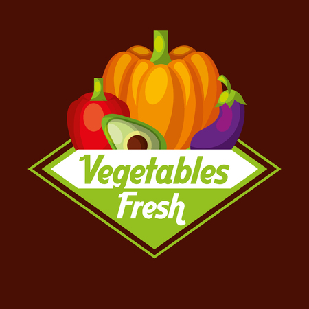 Vegetables fresh label pumpkin avocado eggplant red bell pepper vector illustration. Illusztráció