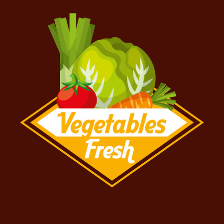 Vegetables fresh label lettuce tomato carrot vector illustration