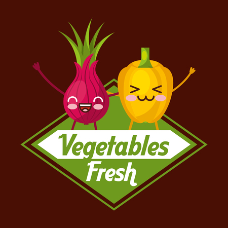 Kawaii vegetables fresh bell pepper and beetroot cartoon vector illustration