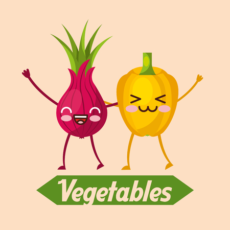 Vegetables kawaii bell pepper and beetroot cartoon vector illustration