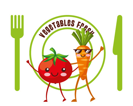 vegetables fresh tomato and carrot fork and knife diet vector illustration