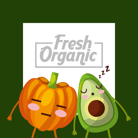 vegetables avocado pumpkin fresh organic green background vector illustration
