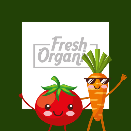 vegetables tomato and carrot fresh organic green background vector illustration Ilustrace