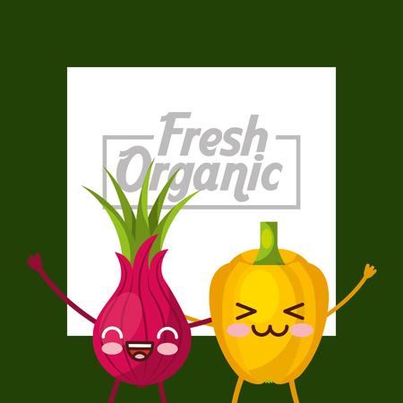 Vegetables kawaii bell pepper and beetroot fresh organic green background vector illustration.