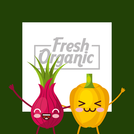 Vegetables kawaii bell pepper and beetroot fresh organic green background vector illustration.