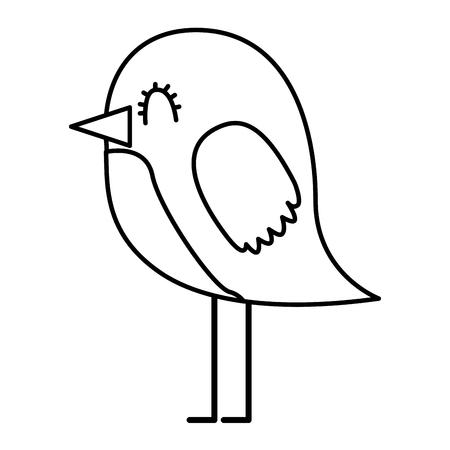 cartoon cute bird adorable animal vector illustration thin line design