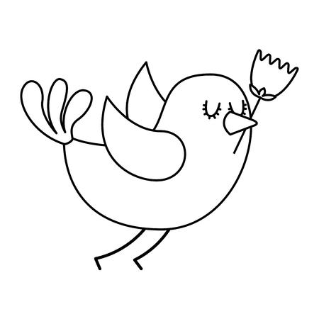 cartoon cute bird with tulip flower in beak vector illustration thin line design Illustration