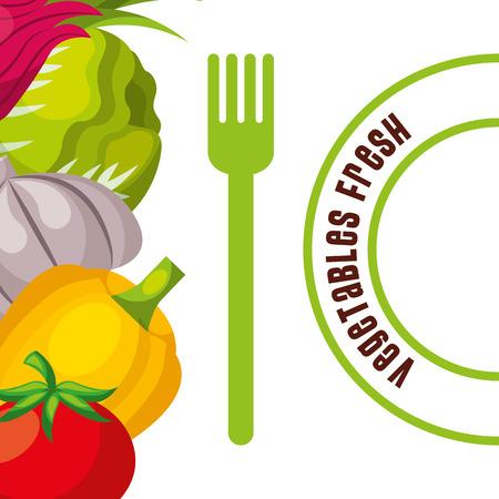 vegetables fresh fodd and fork poster vector illustration