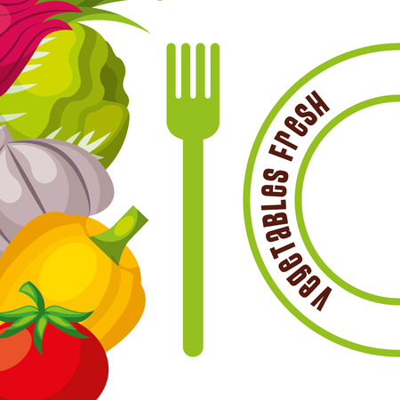 vegetables fresh fodd and fork poster vector illustration Standard-Bild - 96830726