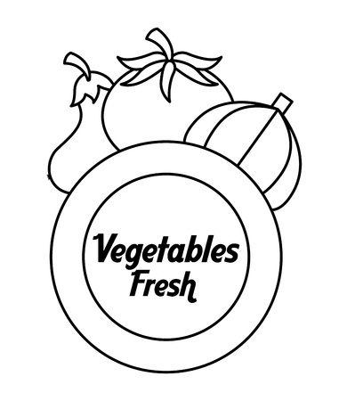 outline vegetables fresh tomato garlic eggplant label vector illustration Foto de archivo - 96830740