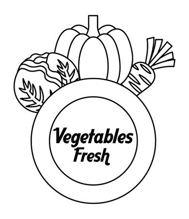 outline vegetables fresh pumpkin carrot lettuce label vector illustration Çizim