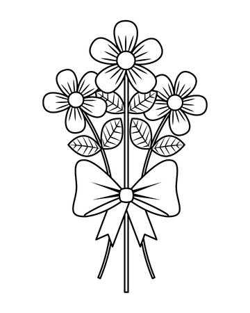bouquet delicate flowers wrap ribbon bow decoration vector illustration thin line design